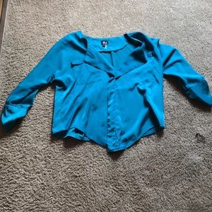 NWOT SILKY BRIGHT BLUE BLOUSE